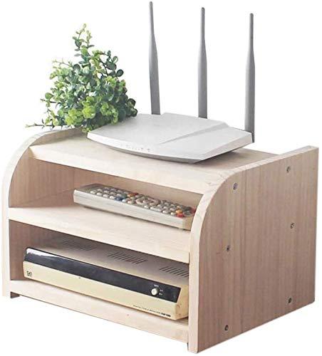Cajas de almacenamiento de enrutadores WIFI, estante flotante de montaje en pared, caja de tv de televisor, estante de almacenamiento de madera, rack de almacenamiento de madera, capa única / doble ca