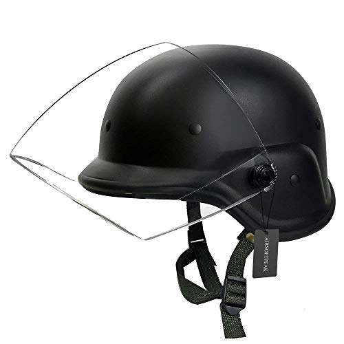 AIRSOFTPEAK Tactical Military Airsoft M88 PASGT Kelver Swat Helmet with Clear Visor, Black