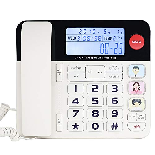 Home Corded Phone with Caller ID, HePesTer P-47 Upgrade Desktop Phone Landline for Elderly with Luminous Large Button Amplified Speakerphone for Hearing Impaired Aid Low Vision Phone SOS Emergency Key