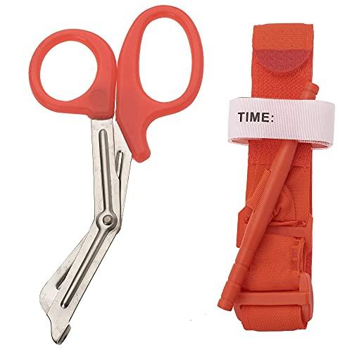 One Hand Tourniquet Combat Application for First Aid + Trauma Shears (Orange)