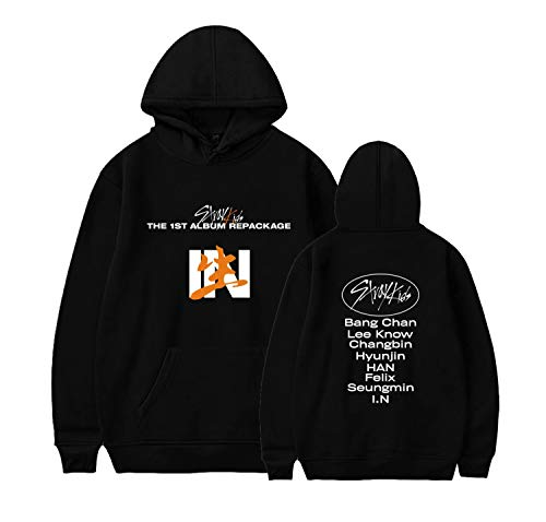 Xkpopfans Kpop Stray Kids Hoodie New Album in-Life Support Sweatshirt Felix Hyunjin Pullover S Black