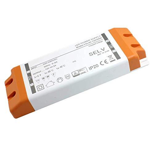 LED Trafo LED Transformator 36W 12V 3A, LED Treiber Netzteil, keine Mindestbelastung, kein LED-Flimmern, kein Transformator-Rauschen Für MR11 G4 MR16 GU5.3 LED Lichtstreifen(1 Stück)