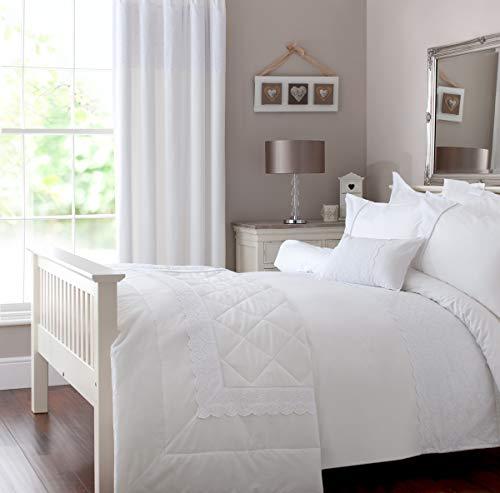 COASTLINE Elegant White Lace Duvet Cover Single Size, Quilt Cover Bedding Set for Girls Bedroom, Embellished with Embroidered Floral Trim, Stark White for All Season, 135x200cm
