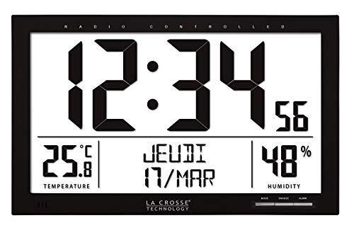 La Crosse Technology - WS8013 Horloge Murale avec Lecture Grand écran - Noir