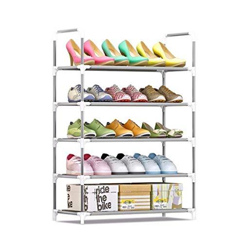 BXU-BG Zapatero de metal de 5 niveles para 6 – 15 pares, organizador de almacenamiento de zapatos ajustable de pie, estantes de puerta, ahorro de espacio, 60 x 30 x 90 cm, ahorro de espacio