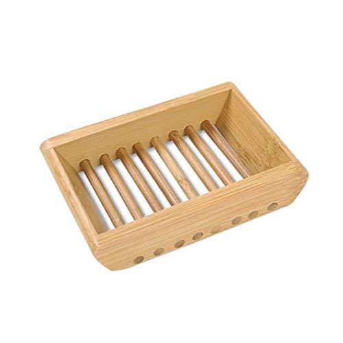 Trä naturliga bambu tvålrätter fackhållare förvaring tvålställ tallrikslåda behållare bärbar badrum tvålfat förvaringslåda