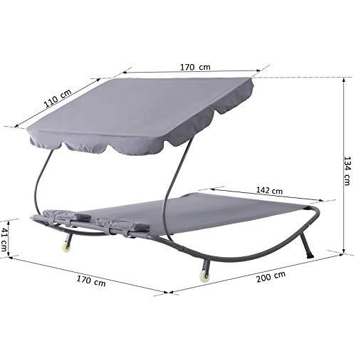 Outsunny Doppelliege Sonnenliege Relaxliege rollbar mit Dach Stahl Grau 200 x 173 x 155cm - 7
