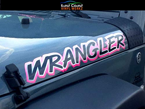 Pink Hood Decals Stickers That fit Jeep Wrangler - 2pc Set