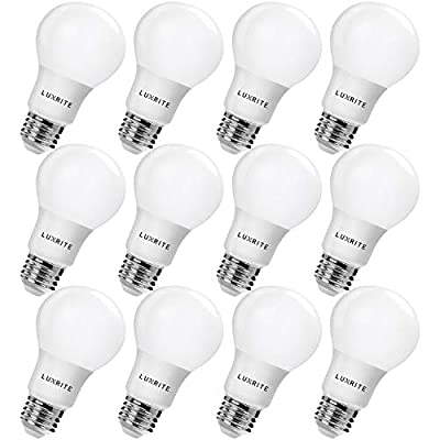Luxrite LR21390 9W LED A19 Light Bulb, 60W Equivalent, Warm White 2700K, E26 Base, UL-Listed