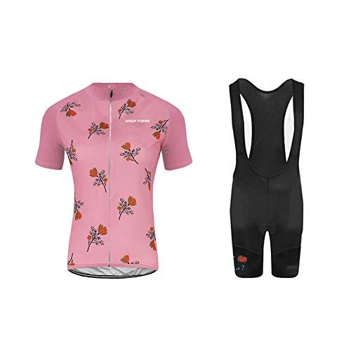 Uglyfrog Designs Bike Wear Radtrikot Damen Fahrradbekleidung Set Outdoor Sports Kurzarm Radkleidung + Radfahren Latzhose Shorts im Sommer