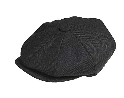 Peaky Blinders Men's 8 Piece 'Newsboy' Style Flat Cap Wool (X-Large (61cm), Black Herringbone)