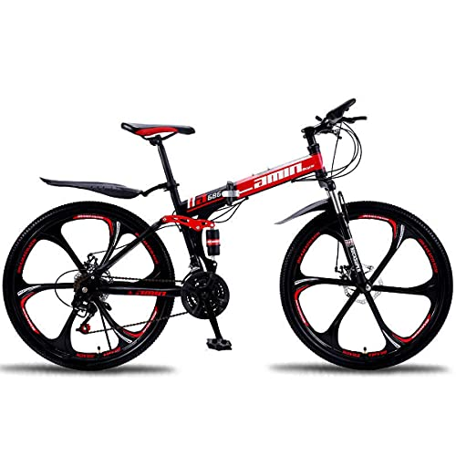 GGXX Folding Mountain Bike 24/26 Inch Outdoor Sports Carbon Steel MTB Bicycle 21/24/27/30 Speed Equipped With Dual Shock Dual Disc Brake