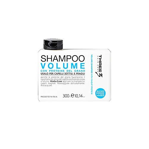 faipa Three 3 Shampoings Volume aux protéines de blé – cheveux fragiles no Paraben 300 ml