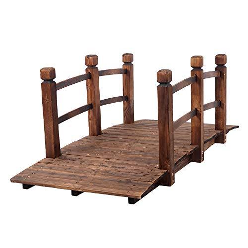 Mokyler Holz-Gartenbrücke, 1,5 m Bogen-Fußbrücke aus Holz, Landschaftsbrücke mit Schutzschienen für Garten, Hinterhof, dekorative Teichbrücke, natürliches Finish