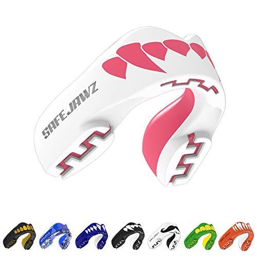 Safejawz Protector bucal Deportes, NO, Unisex, Color Blanco - Blanco/Rosa, Tamaño Ages 12+