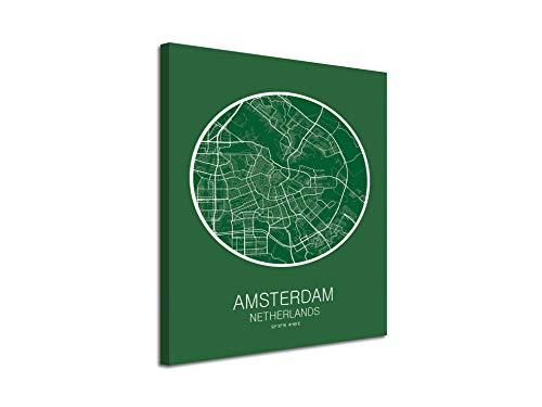 Foto canvas landkaart Amsterdam op linnen decoratief bedrukt | moderne afbeeldingen 30 x 40 Cm Sin Bastidor Celeste Y Blanco