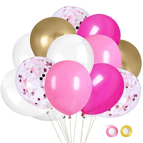 Ballon Rose et Or, 50pcs 12 pouces Ballon Blanc Métalliques Rose et Or pour les Décorations de Fête d'anniversaire de Mariage