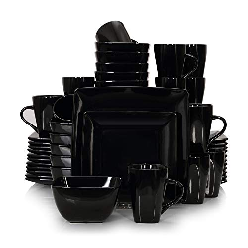 vancasso, Série Soho, Service de Table Complet en Porcelaine, 48 pièces pour 12 Personnes, Assiette Porcelaine Carrée avec Bol à Céréales et Tasse