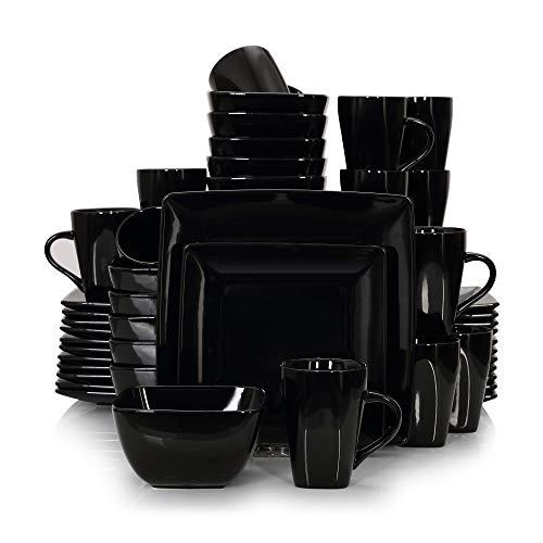 vancasso Serie Soho Vajillas de Porcelana 48 pcs Completas Modernas para 12 Personas, con Platos Llanos, Platos Postre, Cuencos y Tazas, Cuadrado, Negro
