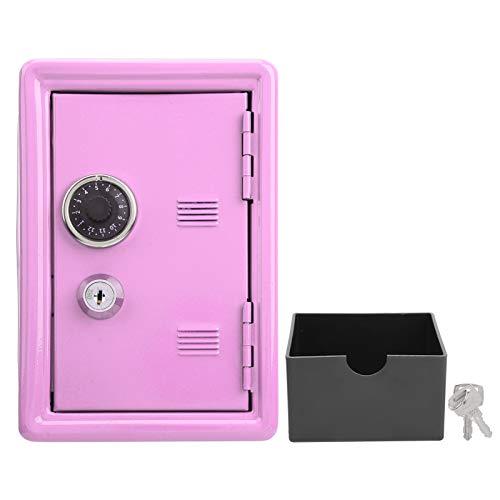 Caja de almacenamiento de dinero para niños, caja fuerte con valor de metal, almacenamiento de cambio extraíble, caja fuerte antideslizante con rueda de código de simulación, llaves pequeñas(rosado)