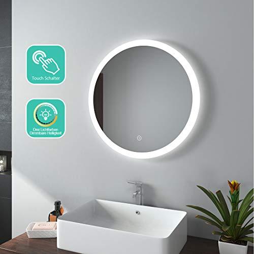 EMKE LED Badspiegel Rund 60 cm Durchmesser LED Spiegel Badezimmerspiegel mit Beleuchtung 3 Lichtfarbe 3000-6400K kaltweiß Neutral Warmweiß Lichtspiegel mit Touchschalter IP44 energiesparend