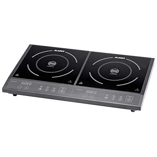 Alaska Induktionskochplatte doppel DIC 3400 | Induktionskochfeld mit 2 Platten | Doppelkochplatte Induktion mobil | LED Display | 10 Stufen