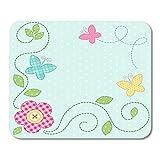 25X30cm Alfombrilla de Ratón Shabby Dot Cute Retro Spring como Parche Apliques de Flores y Mariposas Baby Patchwork