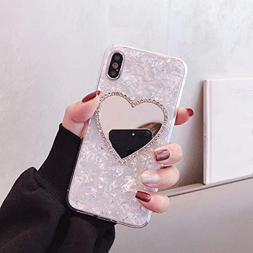 AAA&LIU Lujo Diamond Marble Love Maquillaje Espejo Funda para teléfono para iPhone 6 S 7 8 Plus X XR XS MAX para Samsung GalaxyS8 S9 Note 8 9 S10 E, para S9Plus
