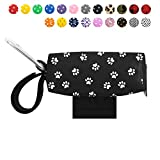 Doggie Walk Bags Dog Poop Bag Holder for Leash, Dog Waste Bag Dispenser with Metal Clip and Adjustable Strap for Any Leash, Paw Print, Fits Tie Handle Bags