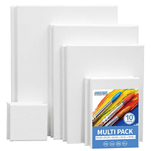 FIXSMITH Stretched White Blank Canvas Variety Pack - 100% Cotton, Primed, for Acrylic, Oil, Other Wet or Dry Art Media, for Artists, Hobby Painters and More.