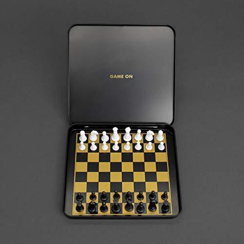 Juego de ajedrez de viaje – juego de ajedrez magnético con funda de transporte de aluminio negro y dorado