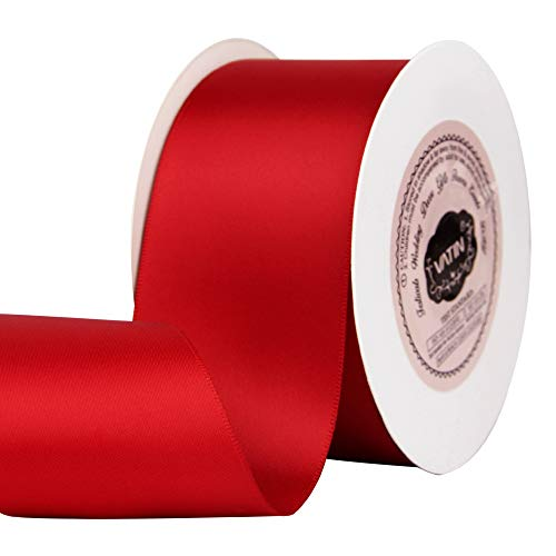 VATIN 2 inches Solid Hot Red Double Faced Polyester Satin Ribbon for Craft, Gift Wrapping, Hair Bow, Wedding Deco 25 Yard Spool