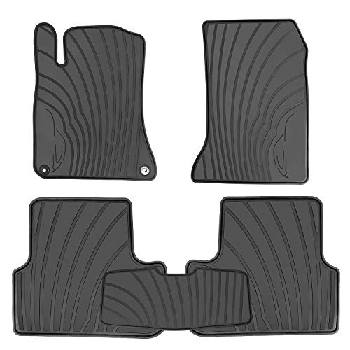 HD-Mart Car Floor Mats Liners Custom Fit for Mercedes Benz A Class 2012-2019/B Class 2013-2019 GLA 2014-2020 Full Black Rubber Set All Weather Protection Heavy Duty Odorless