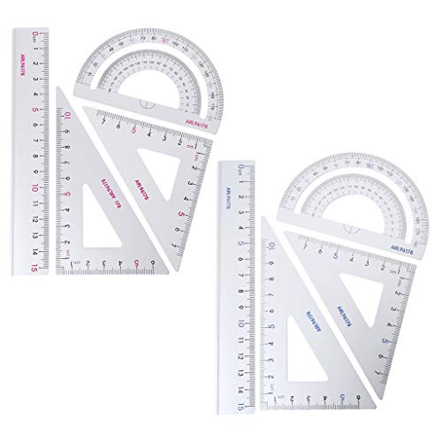 Ixkbiced 4 Uds, Dibujo, útiles Escolares, Regla Triangular Cuadrada, transportador de aleación de Aluminio