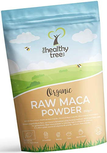 Organic Maca Powder by TheHealthyTree Company for Vegan Smoothies, Oats and Baking - High in Vitamin B2, Fibre, Iron and Calcium - Peruvian Raw Maca Root (250g)