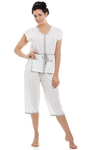 Conjunto de Pijama para Mujer Manga Corta y pantalón Pirata Mezcla de algodón 42-44