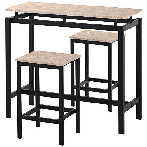 Coolautoparts Bartisch Set 3-teilig Bistrotisch mit 2 Barhockern Küchentresen mit Barstühlen Industrie-Design 100 x 40 x 90 cm für Küche