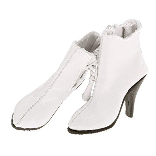 FLAMEER 1 Paar Poppen Schoenen Hoge Hakken PU Laarzen Enkellaarsjes voor 12 Inch Vrouwelijk Actiefiguur - Wit
