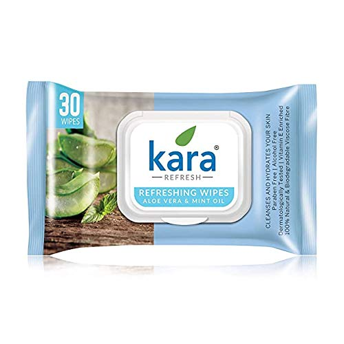 Kara Aloe Vera & Mint Oil Cleansing & Hydrating Face Wipes, 30 Count,(Pack of 2)