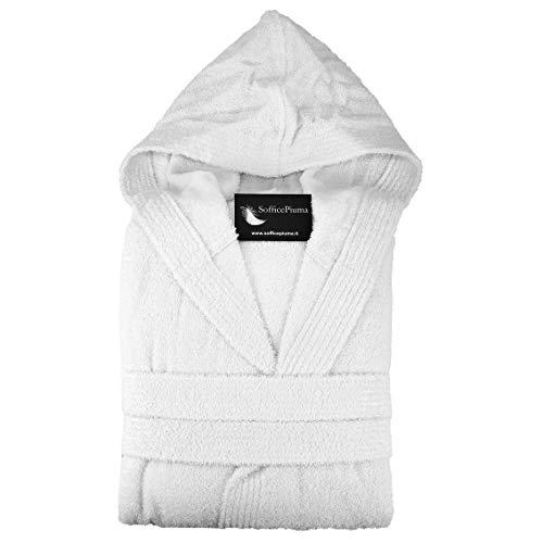 Albornoz suave confeccionado en rizo de algodón puro con capucha y 2 bolsillos laterales de rizo muy suave, fabricado en exclusiva para suave pluma fucsia Medium