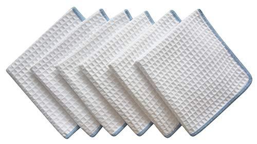 WANGSHAOFENG Gruesa Microfibra Waffle Weave paños de Cocina paños Estropajos paños faciales 6 Paquetes Blanca W/Borde Azul Trapo Cocina (Color : W/Edge Blue, Size : 12' x 12')