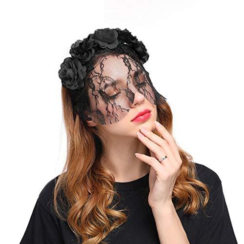 YJZQ Cercle floral coiffe Rouge/noir Voilette de mariage Serre-tête avec Voile Court Guirlande Déguisement Femme Masque Dentelle Spectacle Cérémonie Photographe