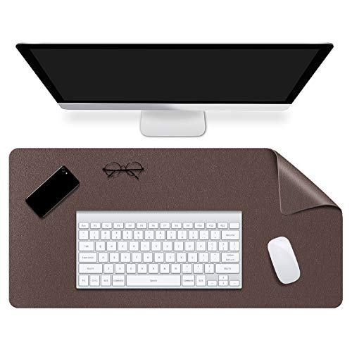 WAYIFON Desk Pad, Dual-Sided Office Desk Mat Mouse Pad, 27x13 in Premium Waterproof PU Leather Desk Writing Mat with Smooth Surface for Office and Home - Brown