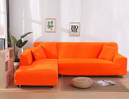 Cxssxling - Funda de sofá esquinero convertible en tejido de poliéster extensible para sofá en forma de L, revestimiento de sofá en tejido elástico (4 plazas), color naranja
