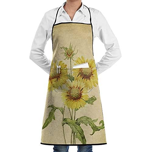 Delantal con bolsillos, diseño de girasoles de verano floral Grungy papel beige retro, impermeable, ajustable, para cocina, barbacoa, dibujo y cocina