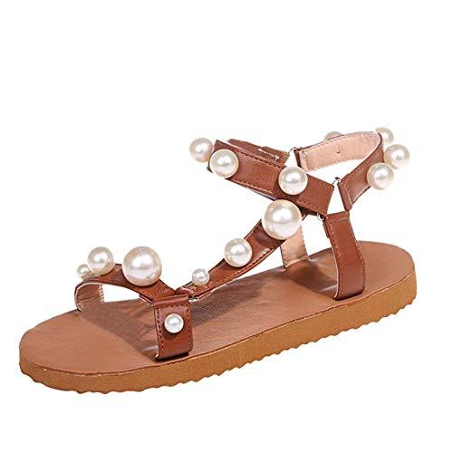 JDGY Platta sandaler dam retro pantoletter Espadrille platta drabbar romersk stil sommar kvinnor pärla platta sommarskor tofflor bekväma andningsbara sandaler, BRUN, 36 SE