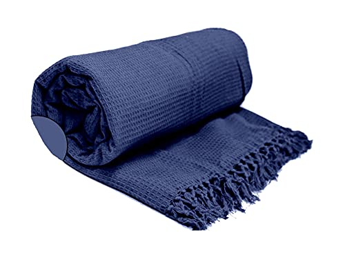 Waffle/Honeycomb 100% Cotton Woven Chair, Sofa, Bed Blanket & Throw (Super King : 259cm x 394cm, Navy Blue)