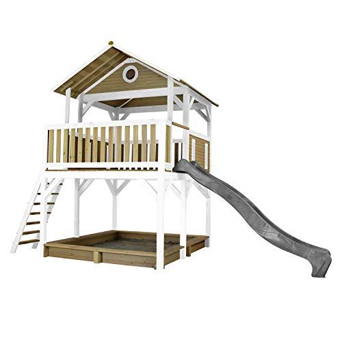 AXI Spielhaus Simba mit Sandkasten & grauer Rutsche | Stelzenhaus in Braun & Weiß aus FSC Holz für Kinder | Spielturm mit Wellenrutsche für den Garten
