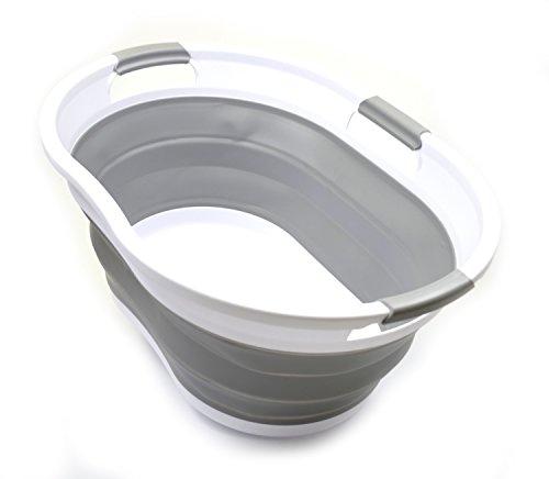 SAMMART 36L Plegable Cesta de lavandería de plástico con 3 manijas-Contenedor de Almacenamiento Plegable Plegable-Tina de Lavado portátil-Cesta de Ahorro de Espacio/Capacidad de Agua 27L (Gris)