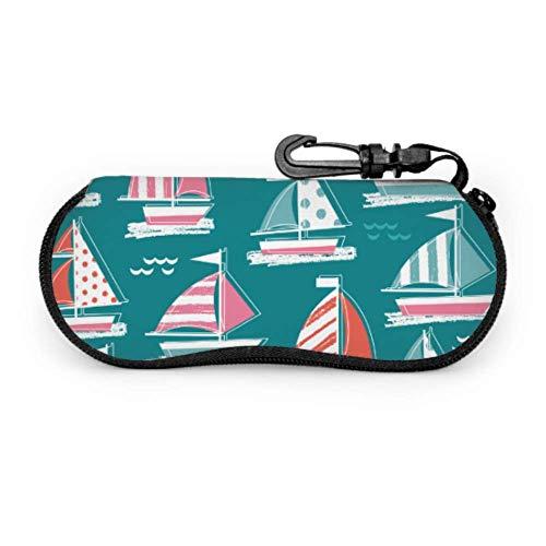 WHI-TS Beautiful Windsurfer Seaside View Zipper Sunglass Case Colorful Estuche de anteojos Light Portable Neoprene Zipper Soft Case Case For Eyeglasses